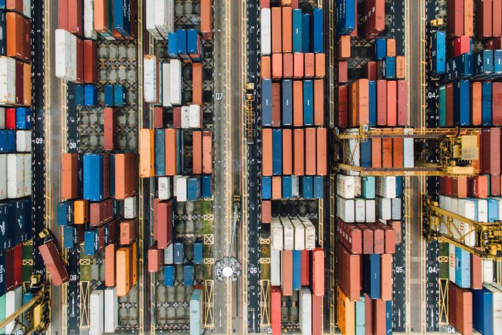 Overhead photos of shipment containers.