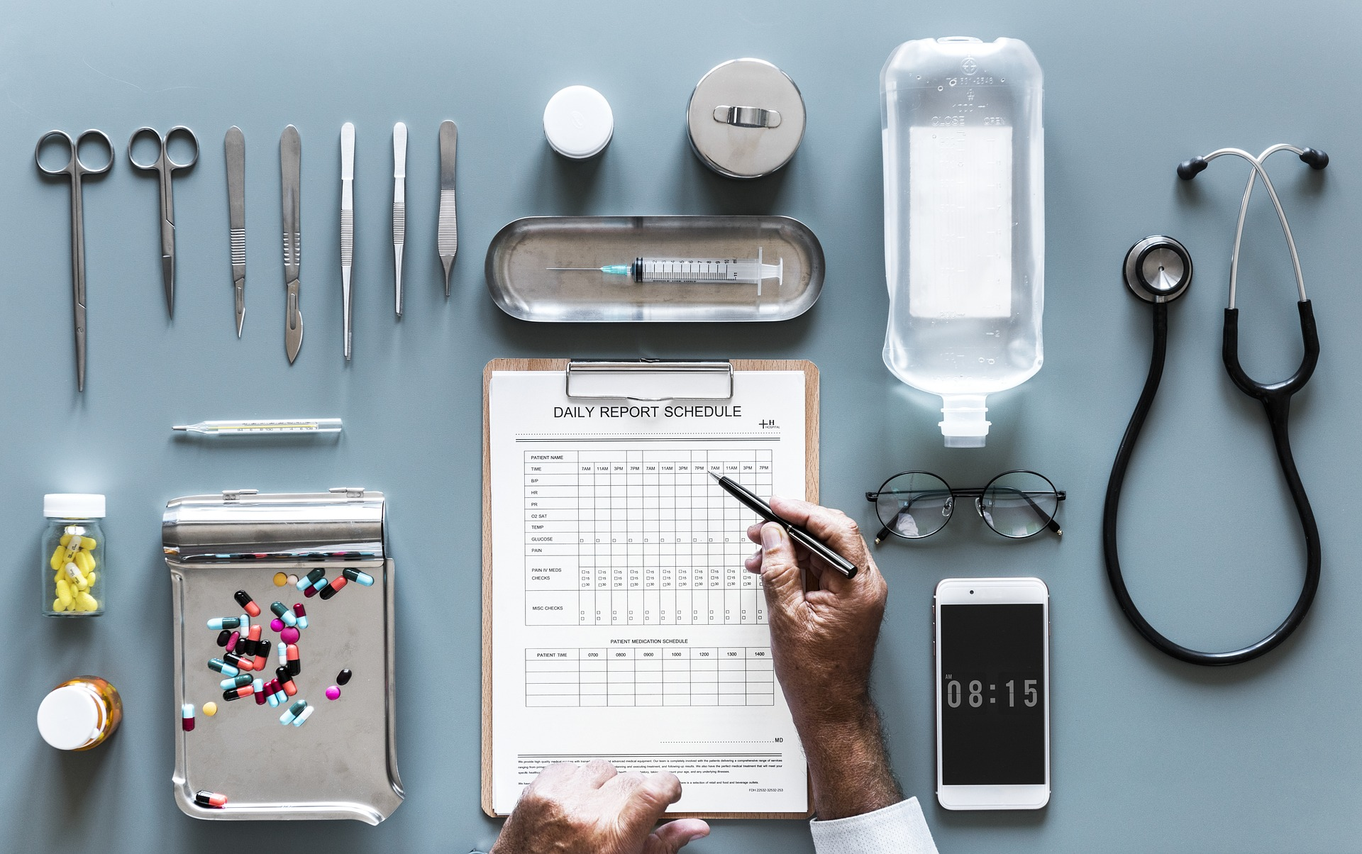 Doctor's equipment and notes
