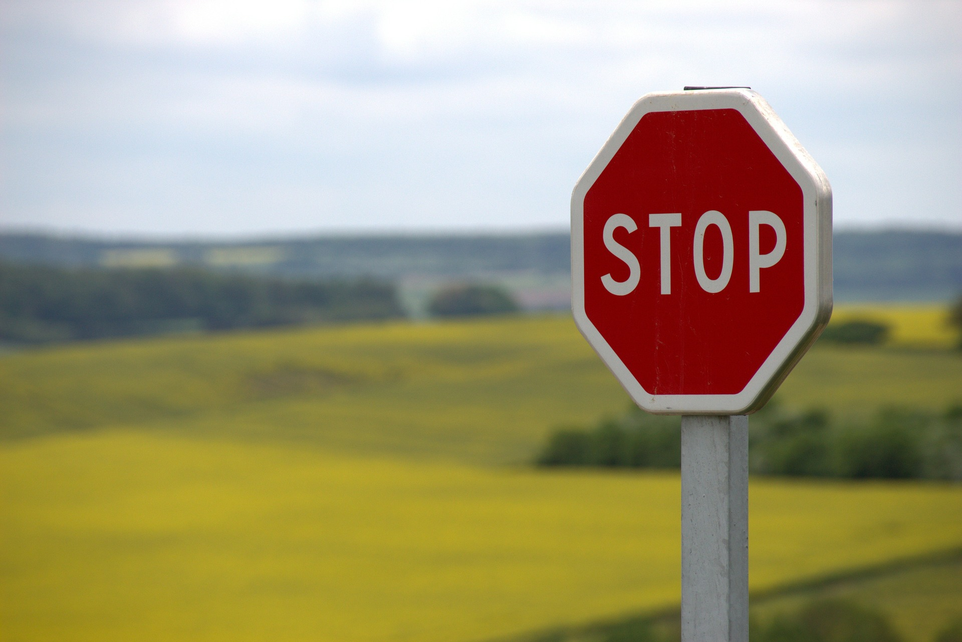 Stop sign warning people about potential pitfalls.